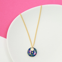 Necklace chainette end and colorful Belle Camille Nina Gold