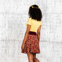 Red printed fluid skirt Moshiki