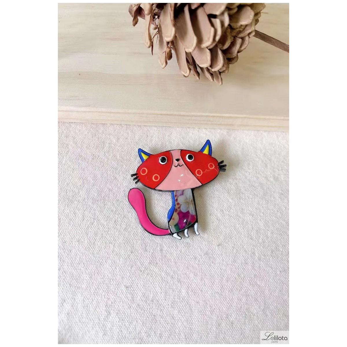 Lol Jewelry brooch, red cat