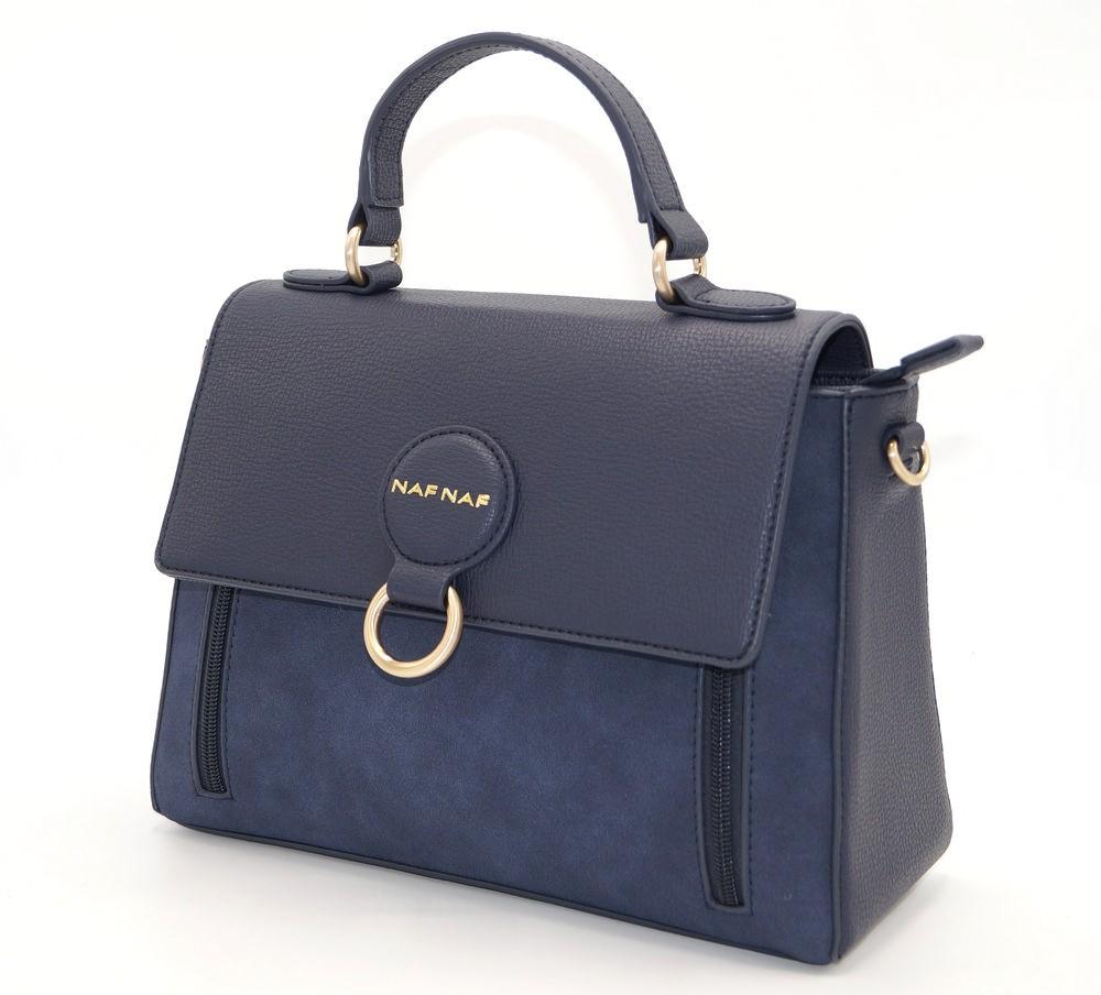 blue leather handbag navy Naf Naf, a chic handbag