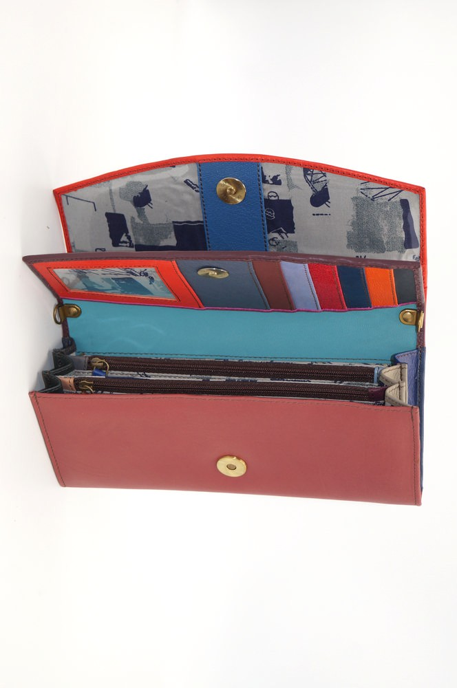 Large leather wallet / Companion / single pouch woman # 7