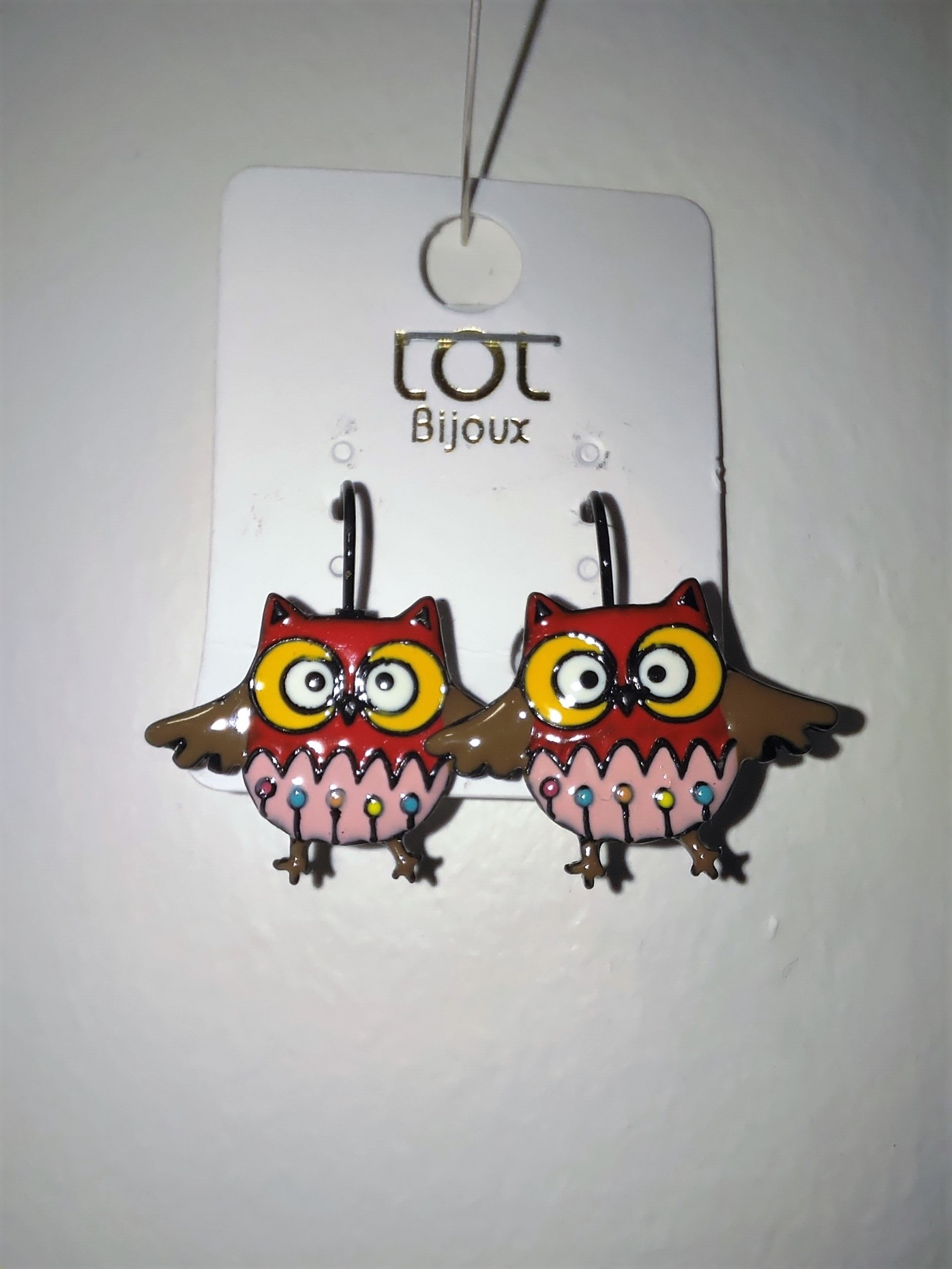 Lol earings, funny Jewelry, red owl