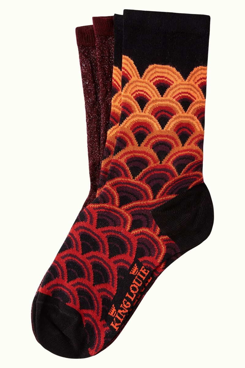 2 pairs of King Louie socks, Pastery red