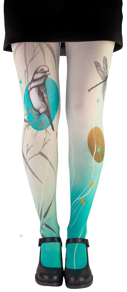 Very original tights pantyhose Lili Gambettes bird and dragonfly