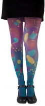 Original blue and violet tights with Eucalyptus leaves Lili Gambettes
