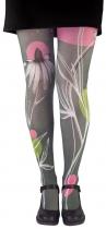 Big flower tights pantyhose Lili Gambettes grey background