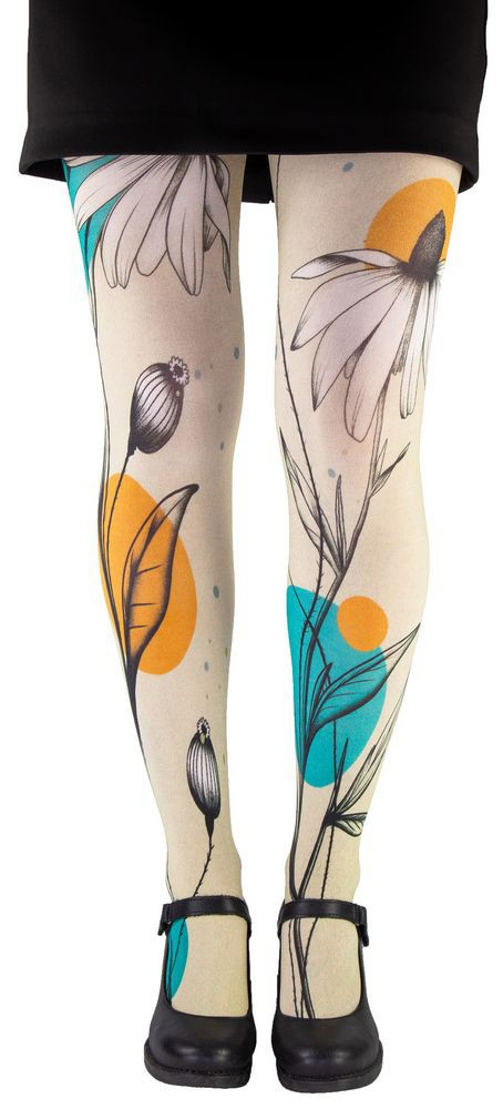Big flower tights pantyhose Lili Gambettes beige background
