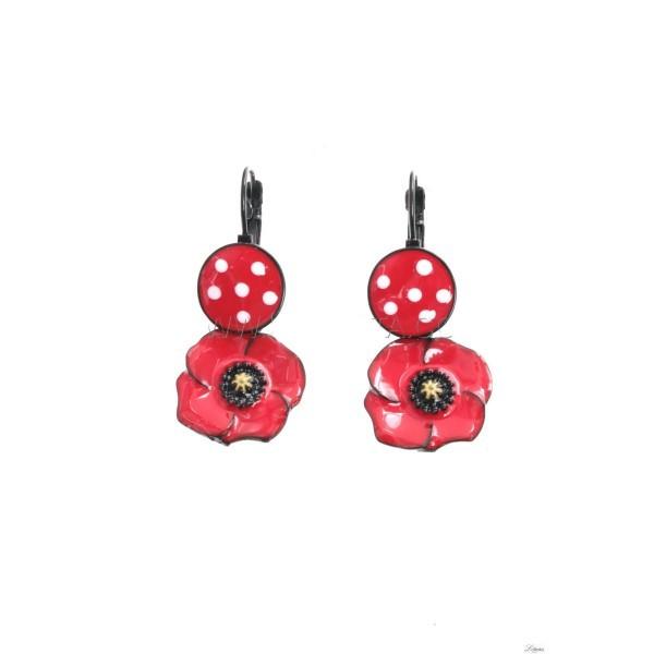Earrings poppy red circle Lol Jewelry