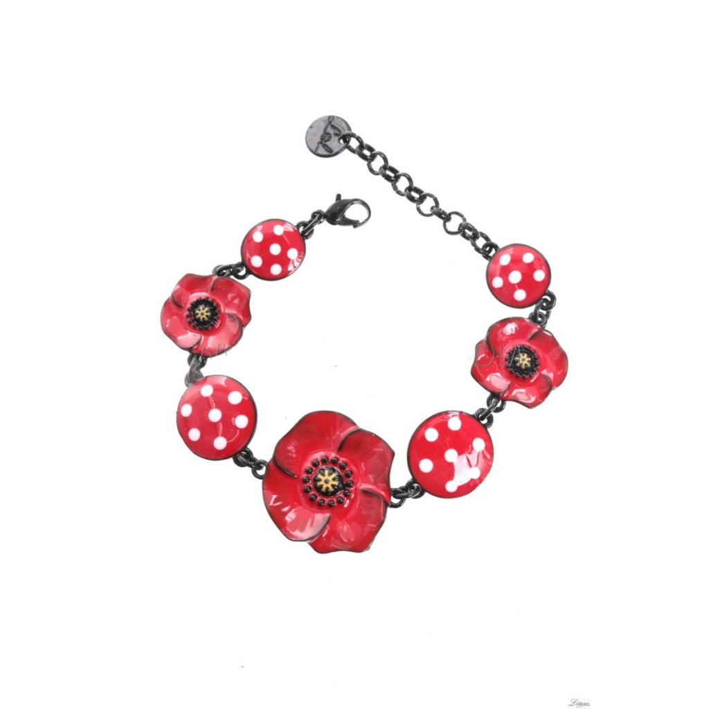 Bracelet poppy Dotted red circles Lol Jewelery