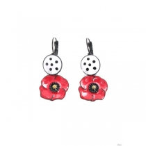 Earrings white poppy circle Lol Jewelry