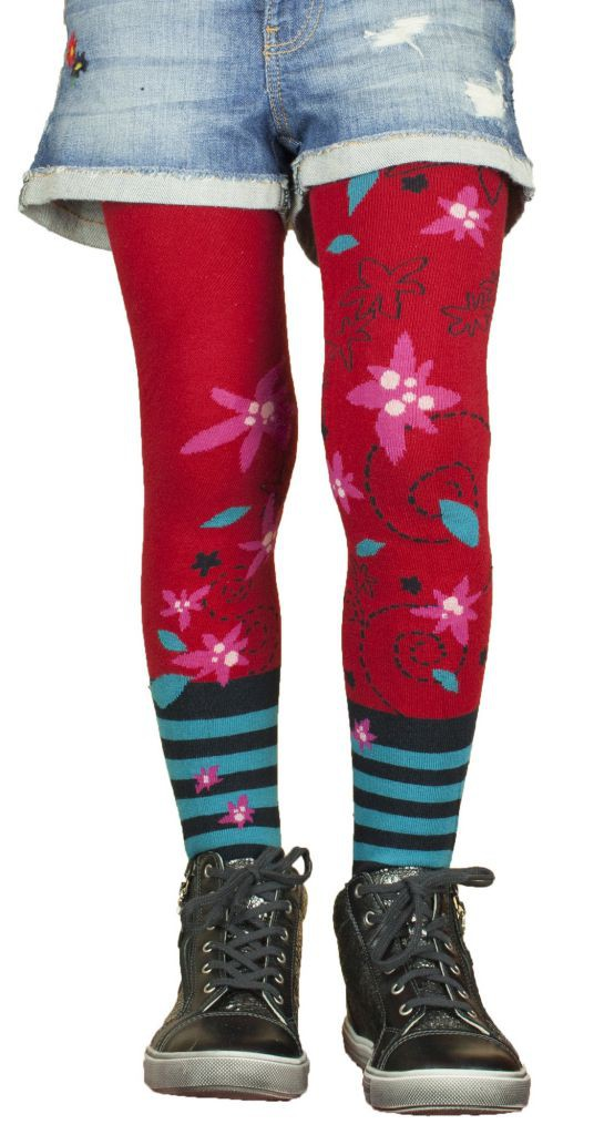 Tights original red and blue children Edelweiss Lili Gambettes