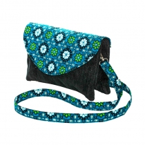 Bag double zipper black and blue velvet Bibop and Lula