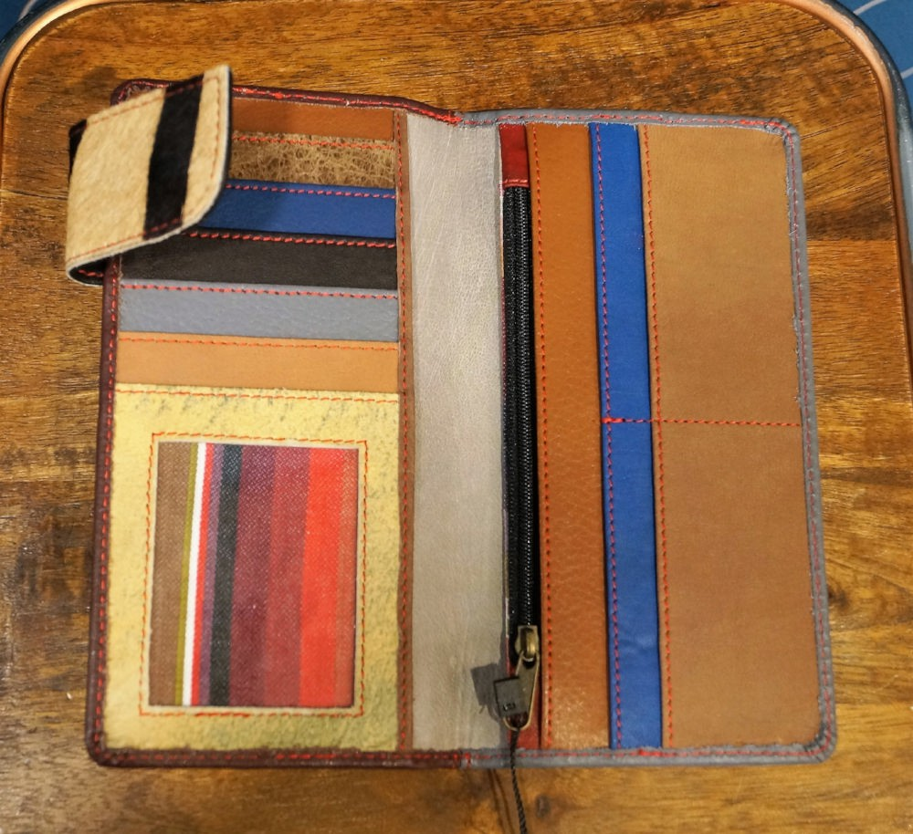 Wallet leather two-tone dark brown and gray Soruka