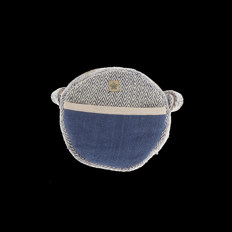 Messenger bag round blue hemp Bhangara