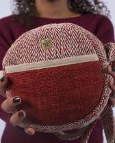 Messenger bag round red hemp Bhangara