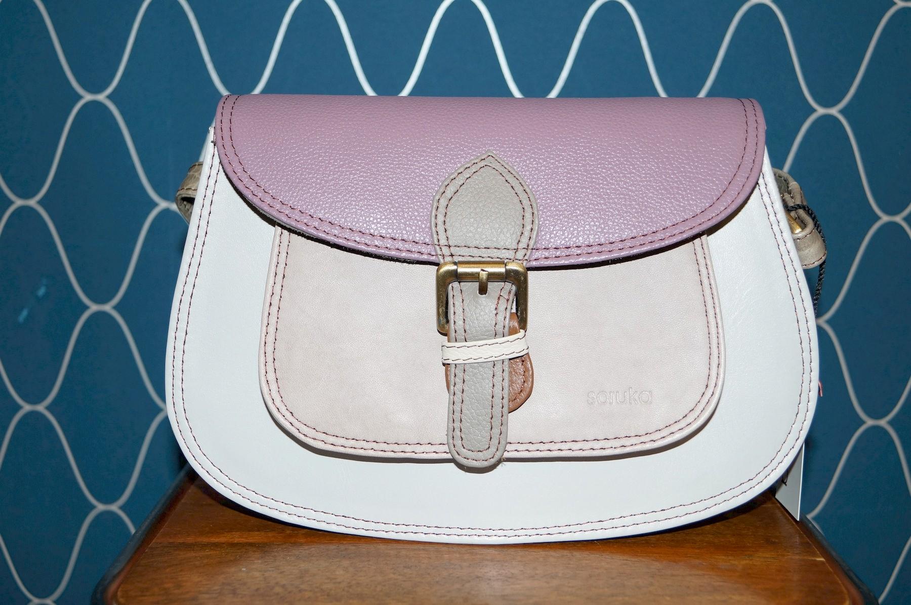 Soruka shoulder bag, round, purple flap