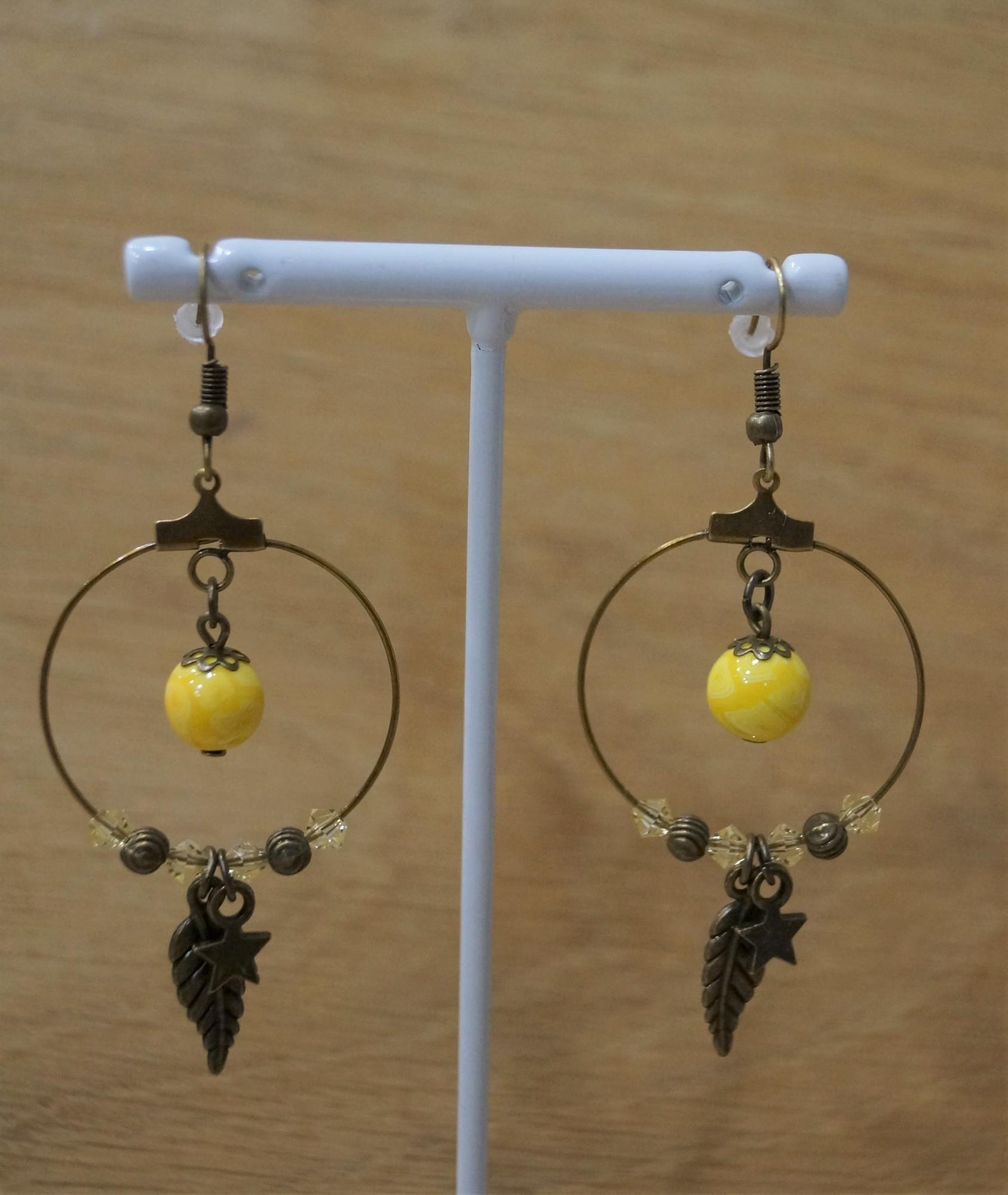 Creole earrings bronze sunshine Elmalao