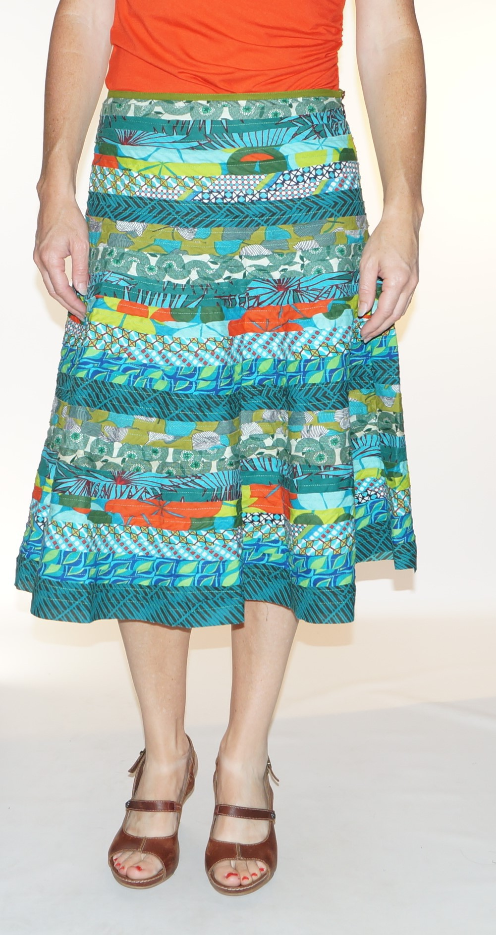 Ethnic Skirt Green Patch Kali Yog