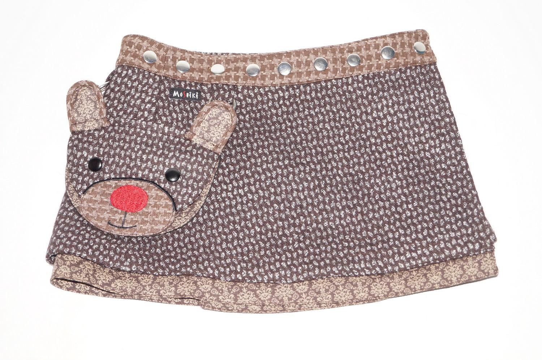 Child Wrap skirt Moshiki, ajustable waist 3 to 6 YO, reversible, winter D