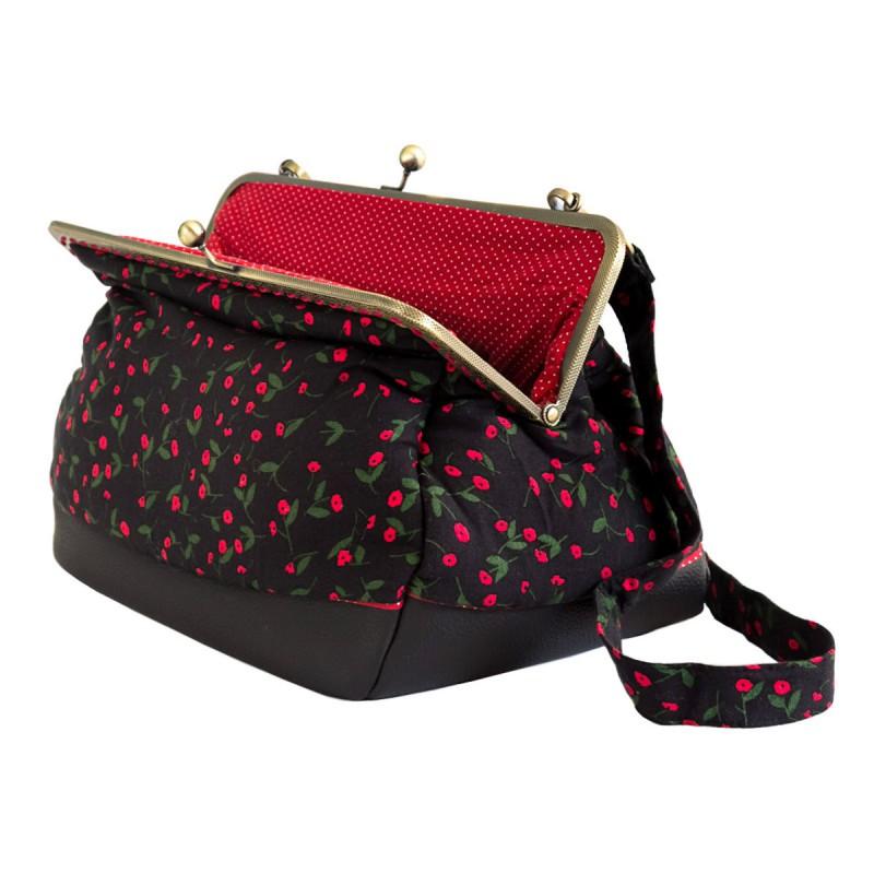 flowery black clip handbag Bibop and Lula