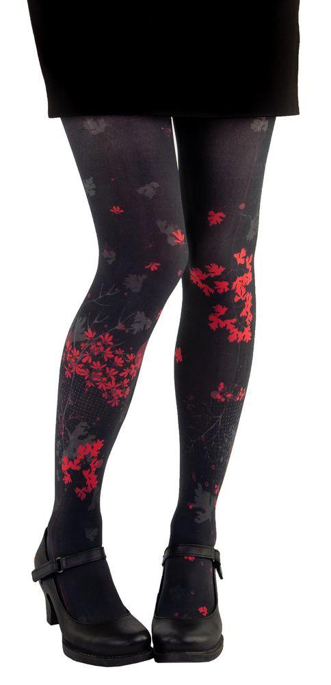 red tights and black Coriander Lili Gambettes