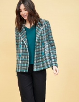 short tweed coat Bride Mekong Nais khaki tweed