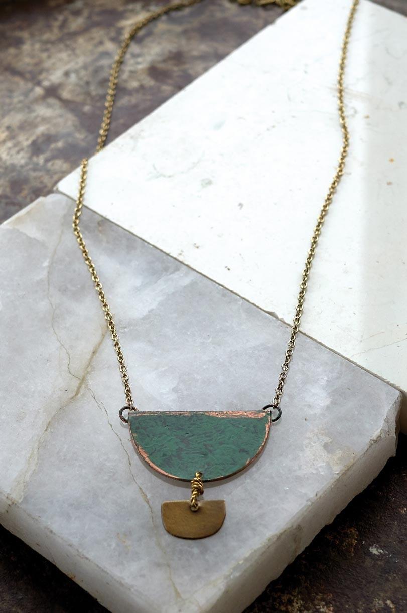 Large ethnic necklace golden green Nomads