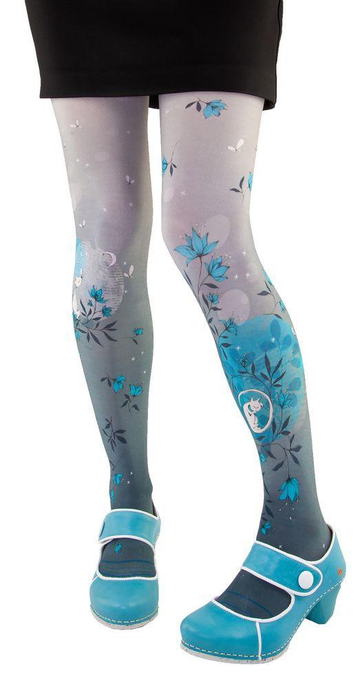 Fantasy tights printed Lili Gambettes theme gray cat