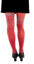 flowery tights Lili Gambettes, red bouquet