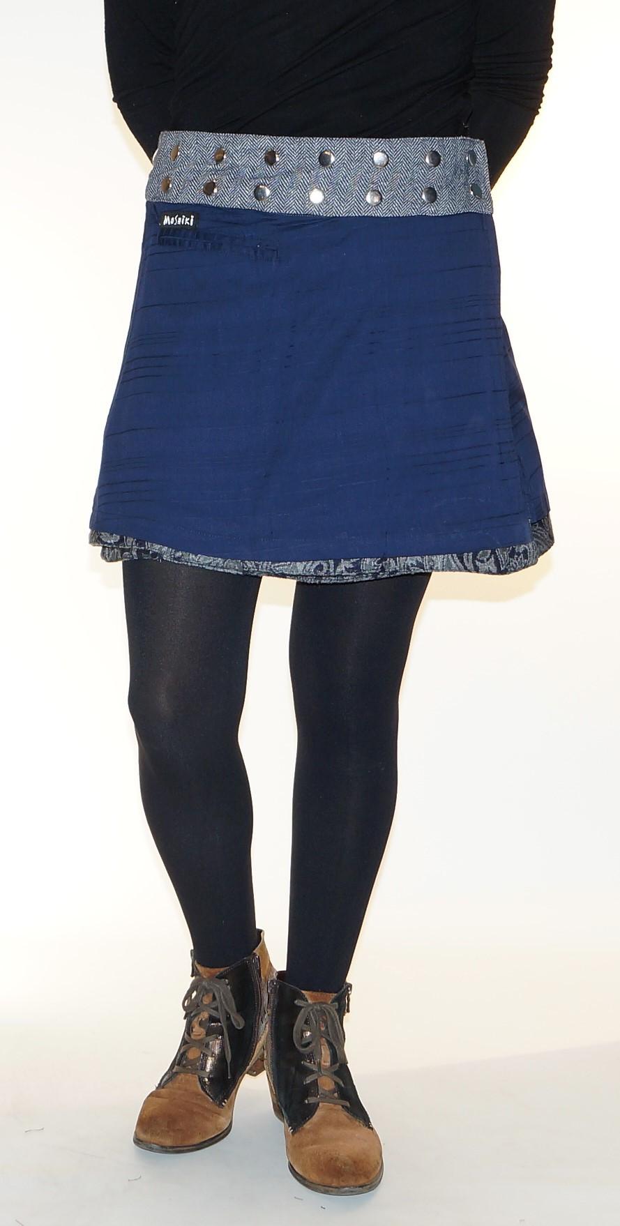 Grey and blue Mini skirt with adjustable waist Moshiki D