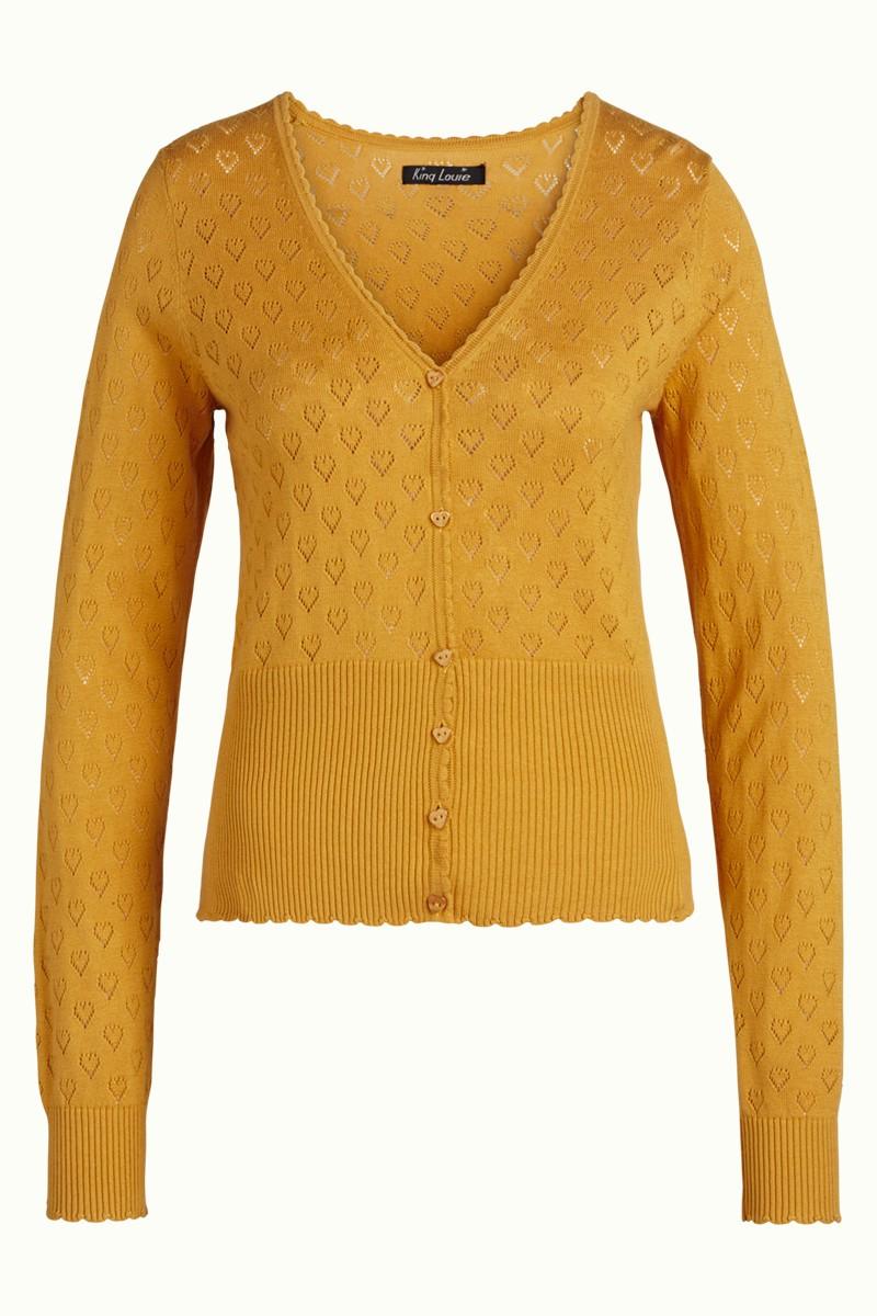 King Louie Toutes Les Couleurs Veste Cardi Heart Ajour Jacket cœur-motif orange jaune