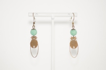 Ethnical pinapple Earings pale green, handmade by Elmalao