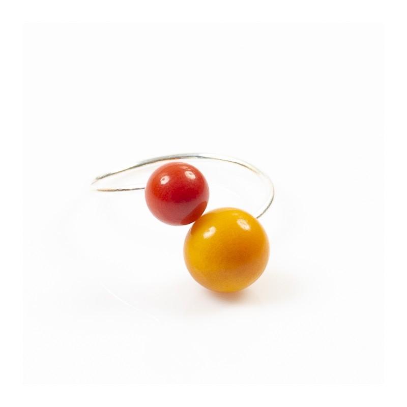 Bague réglable 2 perles Nodova, Miamor jaune et orange