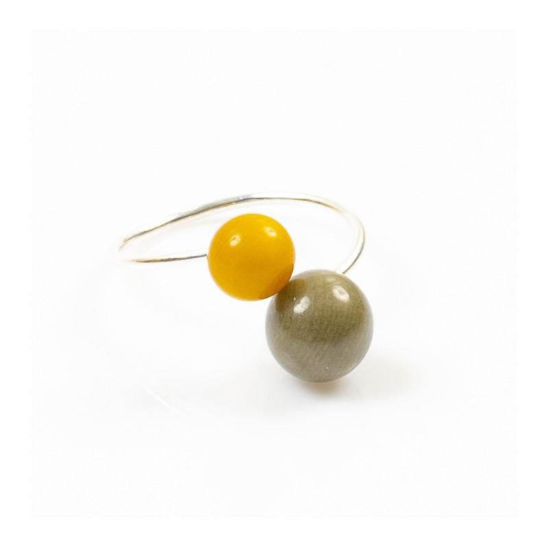 Bague réglable 2 perles Nodova, Miamor kaki et jaune