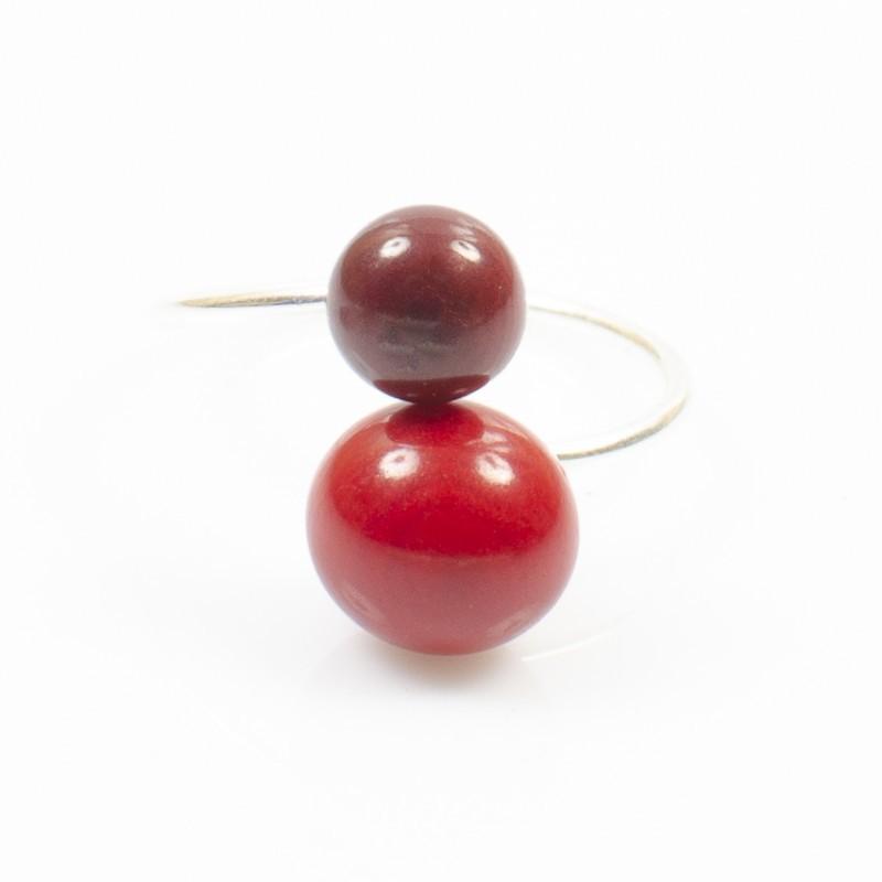 Bague réglable 2 perles Nodova, Miamor rouge
