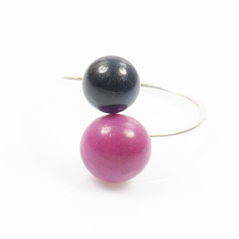 Bague réglable 2 perles Nodova, Miamor violette