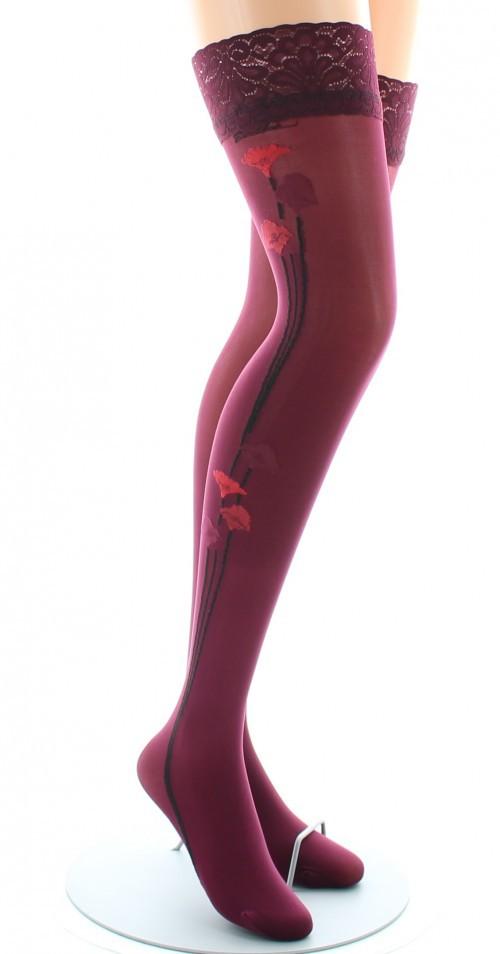 Bas nylon fins Hermès fleur rouge Berthe aux grands pieds