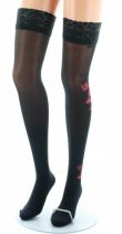 Bas nylon fins noir fleur rouge Berthe aux grands pieds