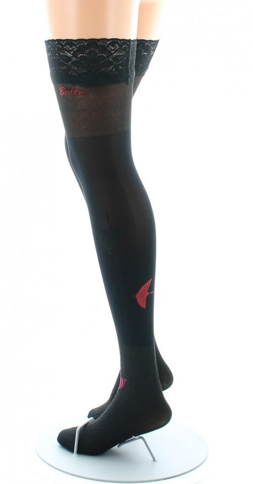 Bas nylon fins rouge et noir ondulation noire Berthe aux grands pieds