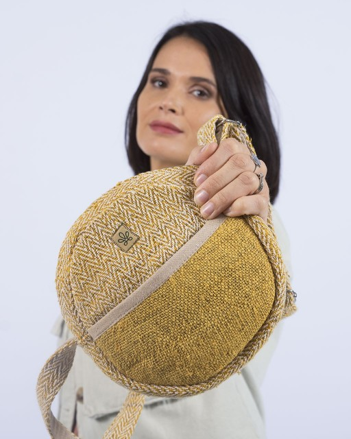 Besace ronde jaune en chanvre Bhangara
