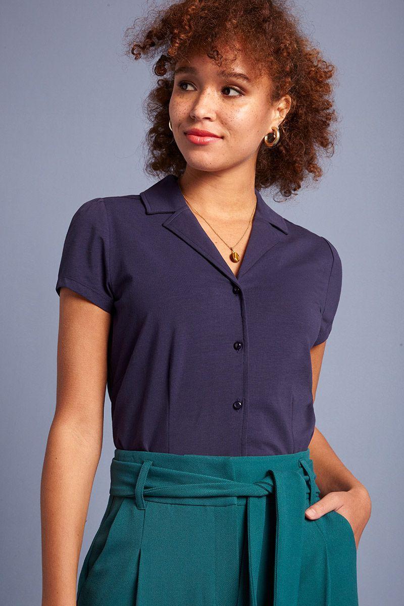 Blouse écologique bleue coton Lycra Patty King Louie