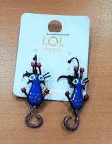 Boucle d\'oreille chat qui s\'étire bleu LOL bijoux