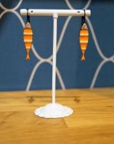 Boucle d\'oreille LOL bijoux sardines oranges et blanches