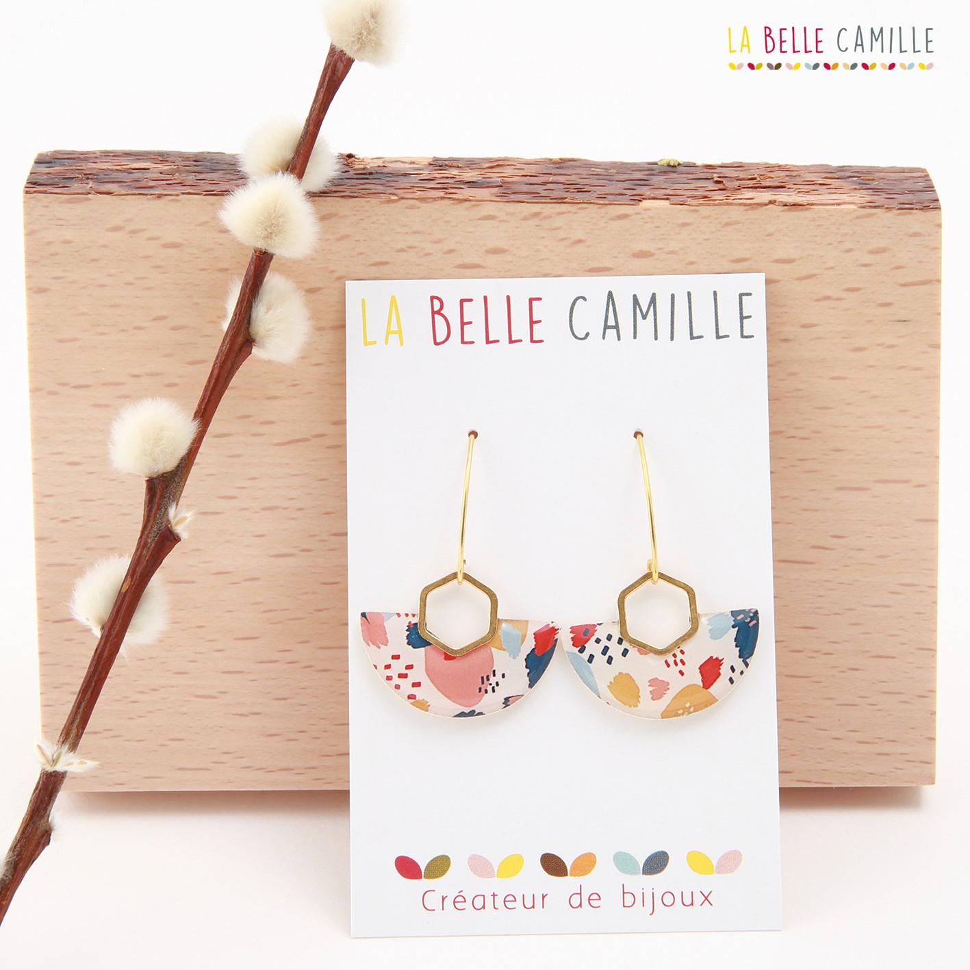 Boucle d\'oreille pendante La Belle Camille Louise Or