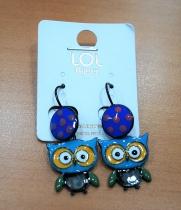 Boucle d\'oreille petit hibou bleu LOL bijoux
