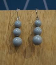 Boucles d\'oreilles 3 perles grises Elmalao