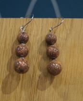 Boucles d\'oreilles 3 perles savane Elmalao