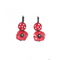 Boucles d\'oreilles coquelicot cercle rouge Lol Bijoux