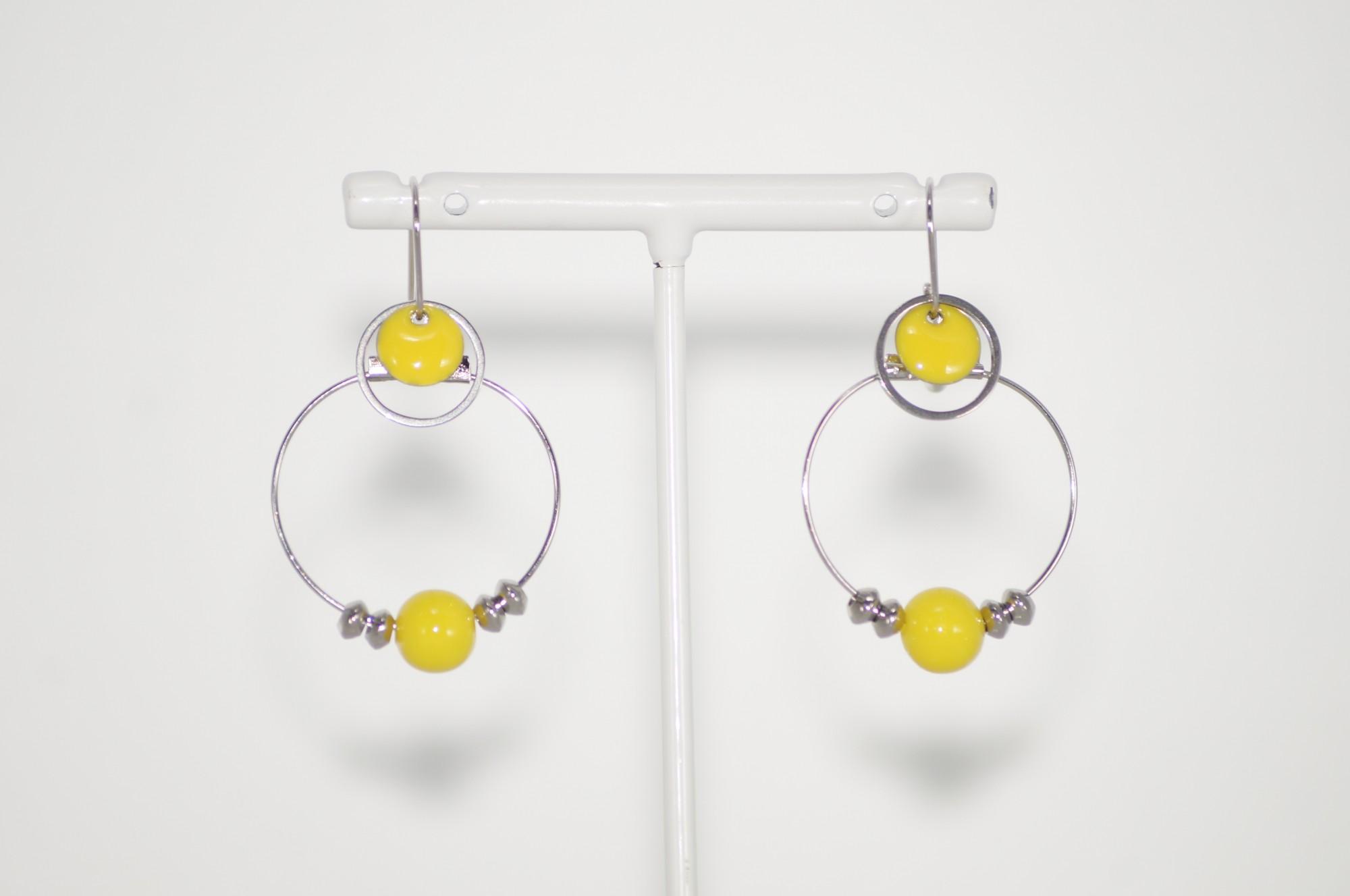 Boucles d\'oreilles créoles acier jaunes Elmalao