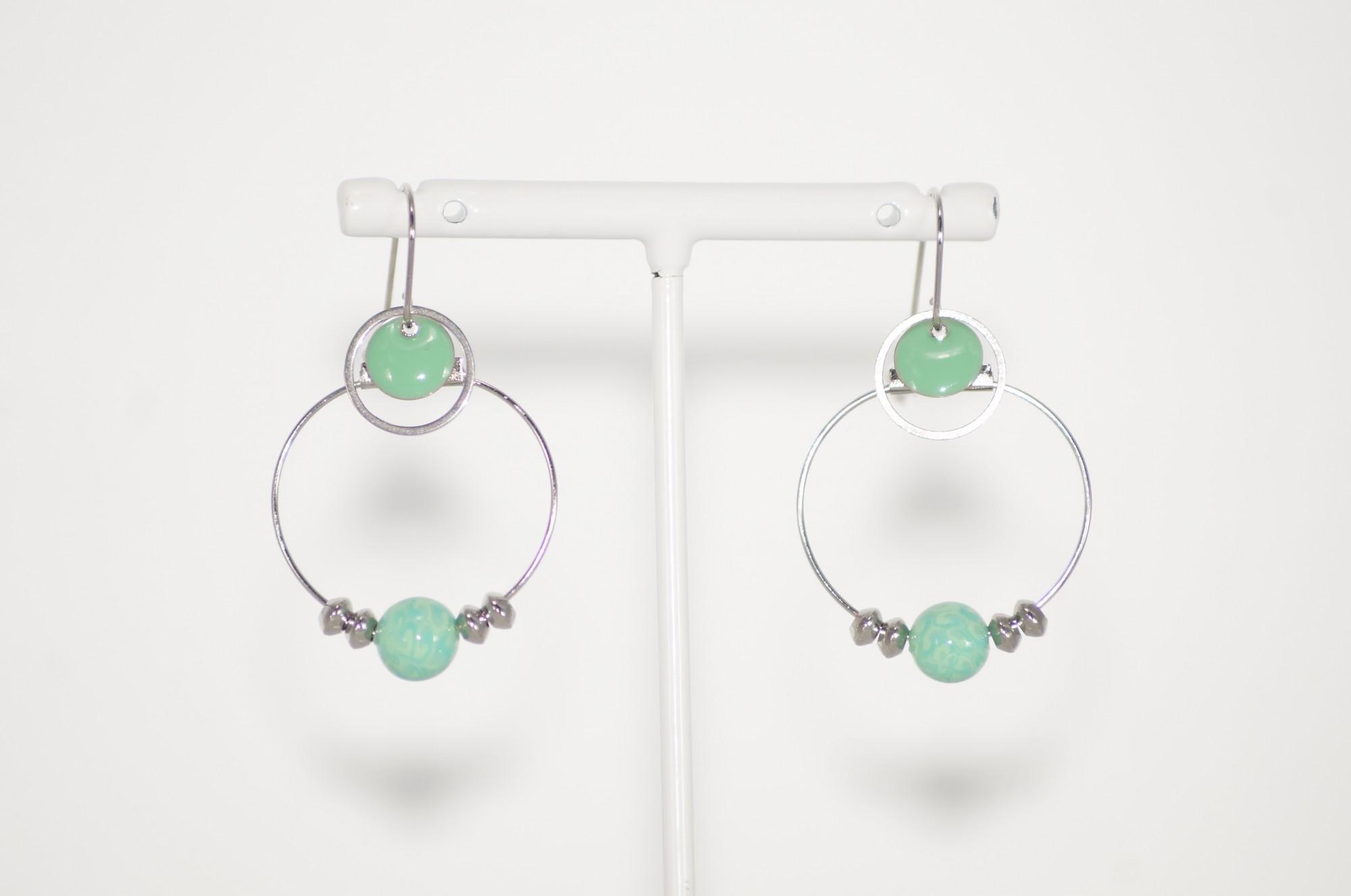 Boucles d\'oreilles créoles acier vert d\'eau Elmalao